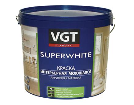 Краска для наружно-внутренних работ моющаяся супербелая ВД-АК-1180 ВГТ