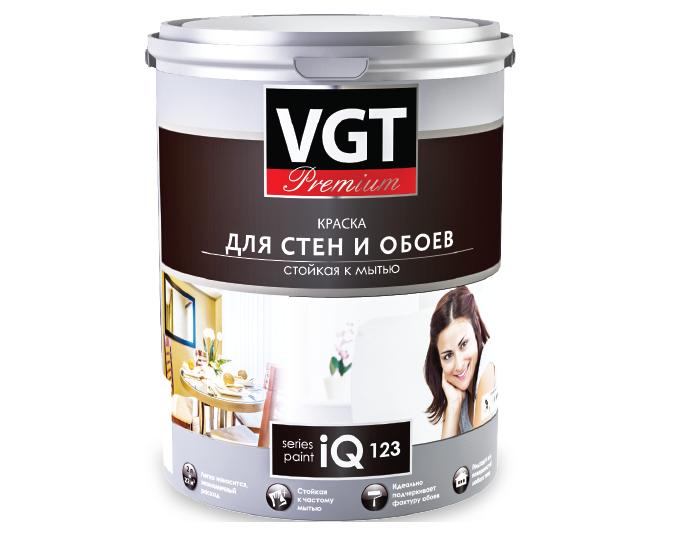 Краска VGT PREMIUM для стен и обоев IQ 123 стойкая к мытью