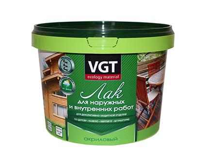 Лак акриловый для наружно-внутренних работ глянцевый и матовый VGT (ВГТ)